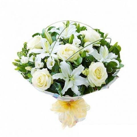 Lilyum & Beyaz Gül Buketi